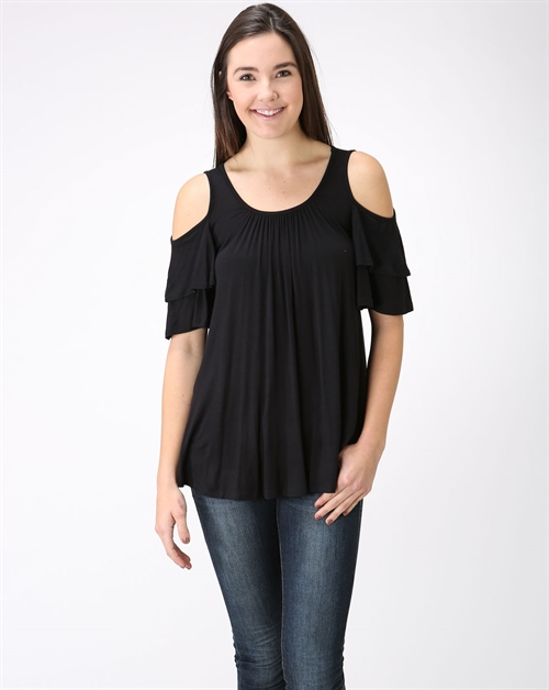 Cutout Shoulder Solid Top - orangeshine.com