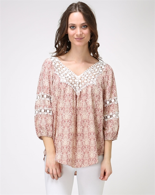 -Bohemian Crochet Peasant Top - orangeshine.com