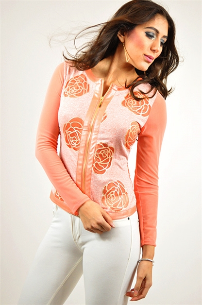 Roses Jacket with Mesh Sleeves - orangeshine.com