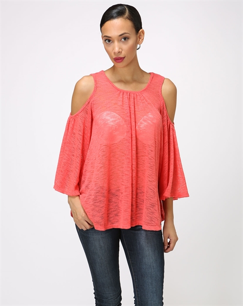 Sweater Knit Cutout Shoulder T - orangeshine.com