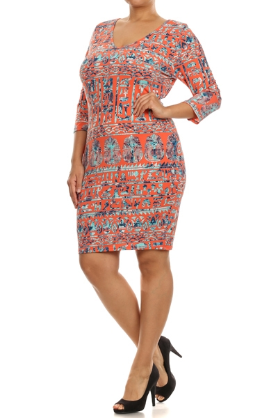 Tribal Print Mini Dress - orangeshine.com