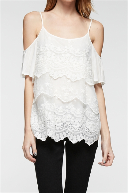 LACE RUFFLE TOP - orangeshine.com