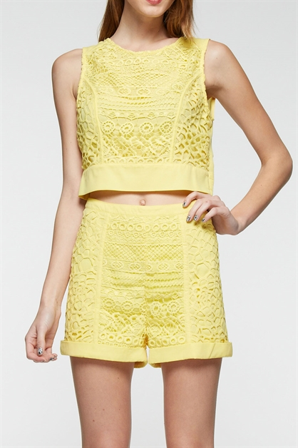 SLEEVELESS WOVEN CROP  TOP - orangeshine.com