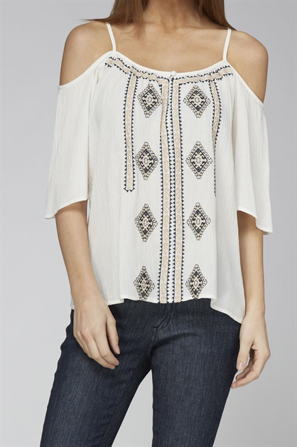 COLD SHOULDER WOVEN TOP - orangeshine.com