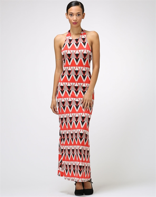 HALTER  BARE BACK MAXI DRESS - orangeshine.com