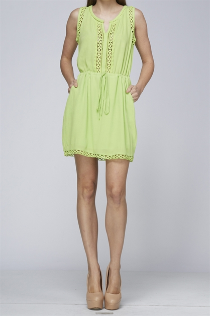 EYELET TRIM DRESS - orangeshine.com