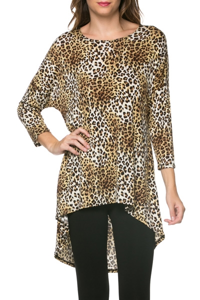 3/4 Sleeve Tunic-Animal Print - orangeshine.com