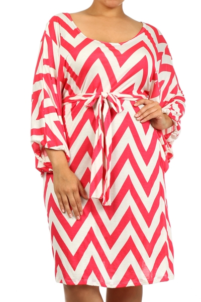 Chevron-kimono sleeve dress - orangeshine.com