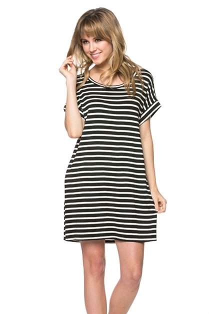 Stripe Tunic Dress - orangeshine.com