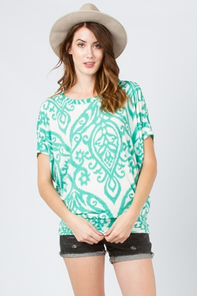 PRINT SHORT SLEEVE TOP - orangeshine.com