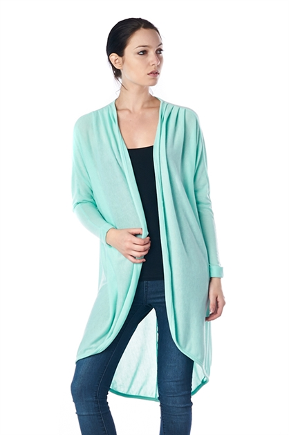 PLEATED SOLID CARDIGAN - orangeshine.com
