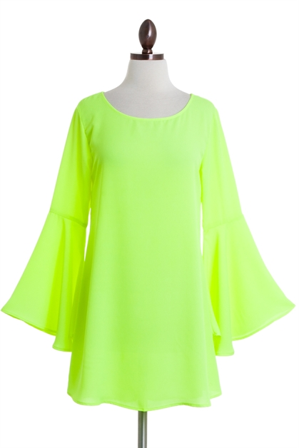 Neon Yellow Bell Sleeve Dress - orangeshine.com