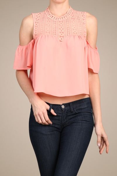 CROCHET LACE OFF SHOULDER TOP - orangeshine.com
