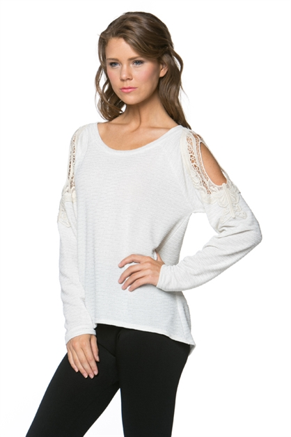 Open Sleeve Lace Trim Knit Top - orangeshine.com