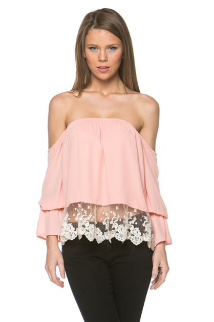 Lace Trimed Off Shoulder Top - orangeshine.com
