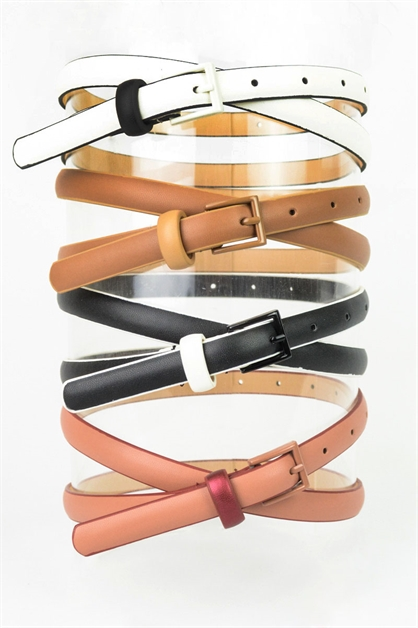 Two Tone Classic Skinny Belt - orangeshine.com