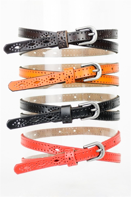 PERFORATED SKINNY BELT - orangeshine.com