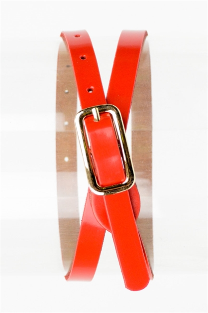 BONDED LEATHER SKINNY BELT - orangeshine.com