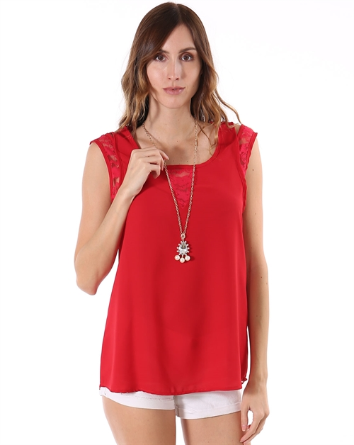 DOUBLE STRAP WOVEN BLOUSE - orangeshine.com