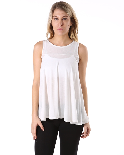Solid Sleeveless Knit Top - orangeshine.com