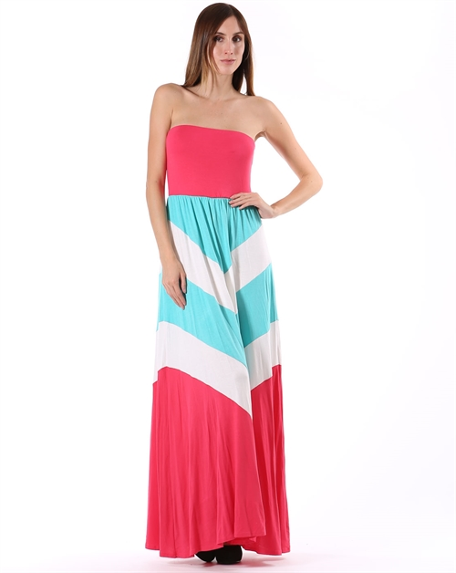 Chevron Maxi Dress - orangeshine.com