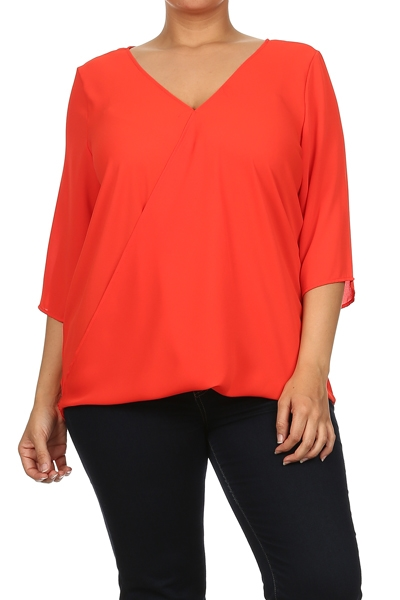 V Neck Hi-Lo Blouse - orangeshine.com