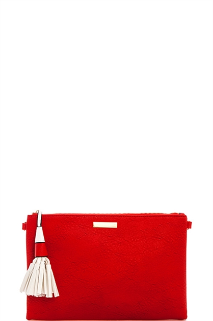 Fashion Color Tassel Clutch - orangeshine.com