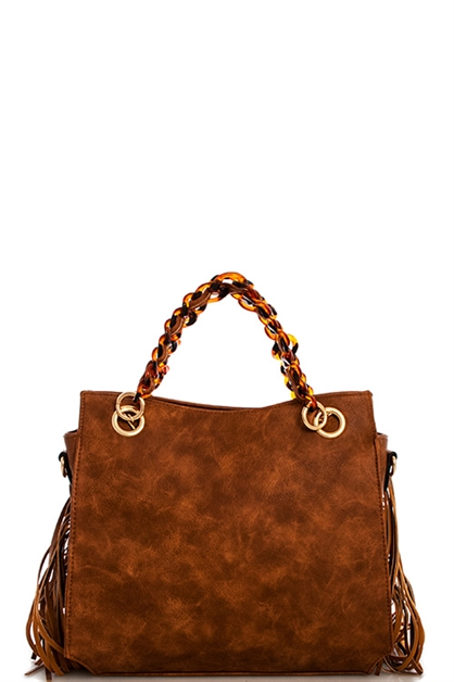 Trendy Chic Fringe Satchel - orangeshine.com