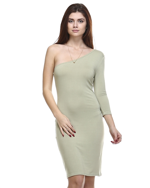 ONE SHOULDER SOLID DRESS - orangeshine.com