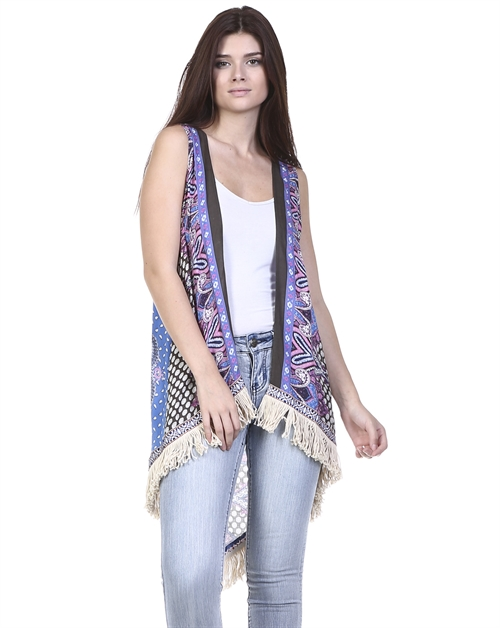 PRINTED VEST WITH FRINGE - orangeshine.com