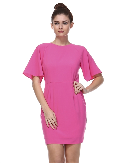 FLARED SLEEVES SOLID DRESS - orangeshine.com