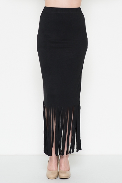 Fringe Bottom Midi Dress - orangeshine.com