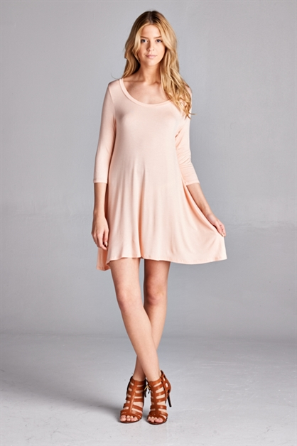 SCOOP NECK SWING DRESS - orangeshine.com