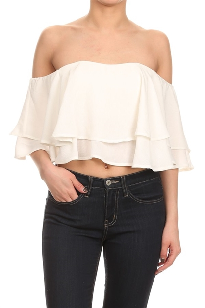 Cropped soild off the shoulder - orangeshine.com