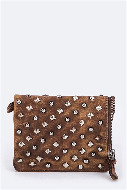 Genuine Leather Studded Wallet - orangeshine.com