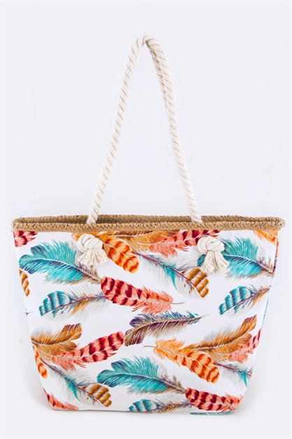 Color Feathers Pattern Tote - orangeshine.com
