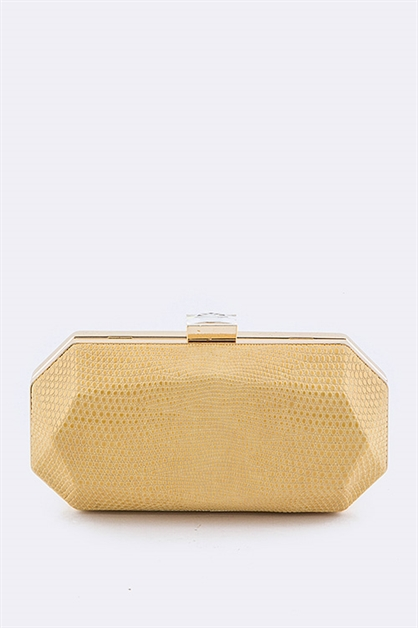 Embossed Leather Box Clutch  - orangeshine.com