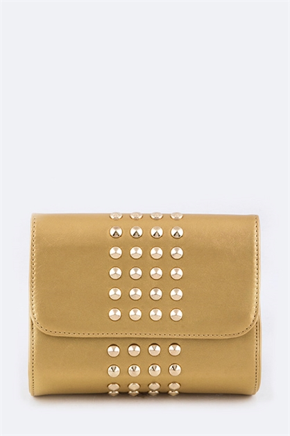 Metal Studs Fashion Clutch Bag - orangeshine.com