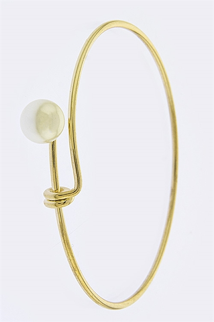 Single Pearl Tip Bangle Bracel - orangeshine.com