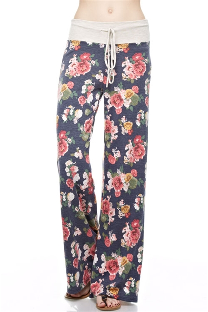 Floral Print Wide Pants - orangeshine.com