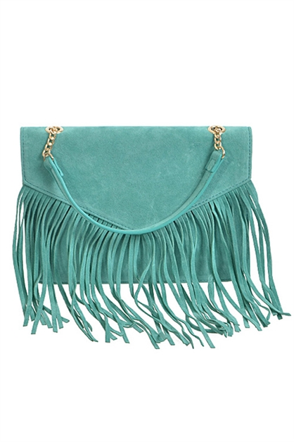 SUEDE CLUTCH WITH FRINGE - orangeshine.com