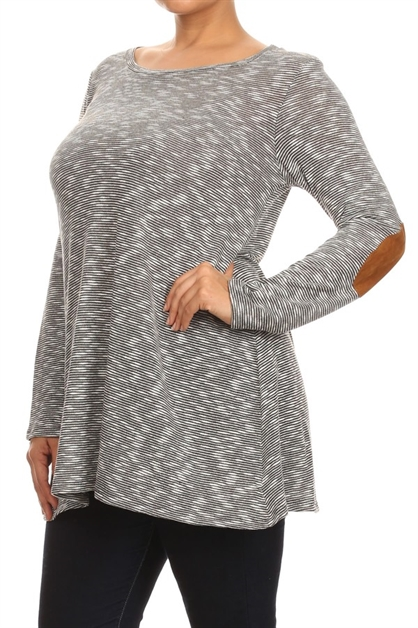 Elbow Patch Long Sleeve Tunic - orangeshine.com
