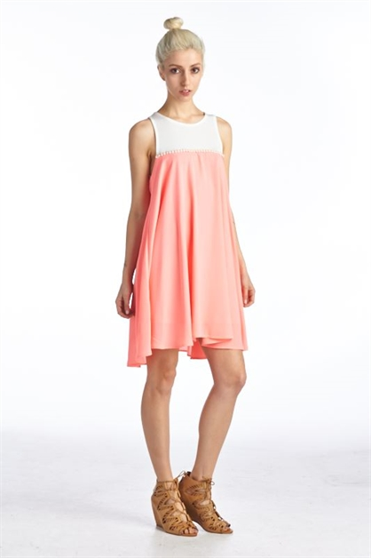 ROUND NECK DRESS WITH DETAIL - orangeshine.com