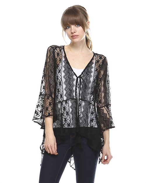 LACE BODY OPEN CARDIGAN BLOUSE - orangeshine.com