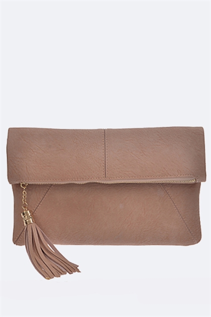 Tasseled Accent Folding Clutch - orangeshine.com