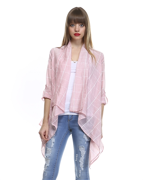 ROLL UP SLEEVES WOVEN CARDIGAN - orangeshine.com