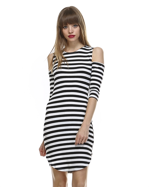 COLD SHOULDER STRIPED DRESS - orangeshine.com