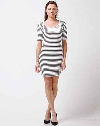 STRIPE SHORT SLEEVE DRESS - orangeshine.com