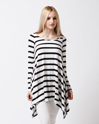 Casual Stripe Long Top - orangeshine.com