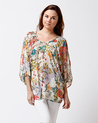FLORAL 3/4 SLEEVE TOP W/ BUTTONS - orangeshine.com